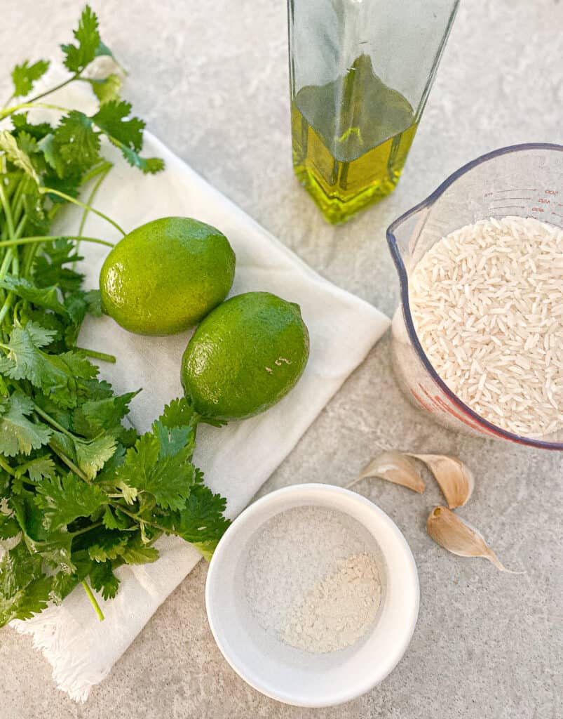 These are all of the ingredients you will need to make the cilantro lime rice.