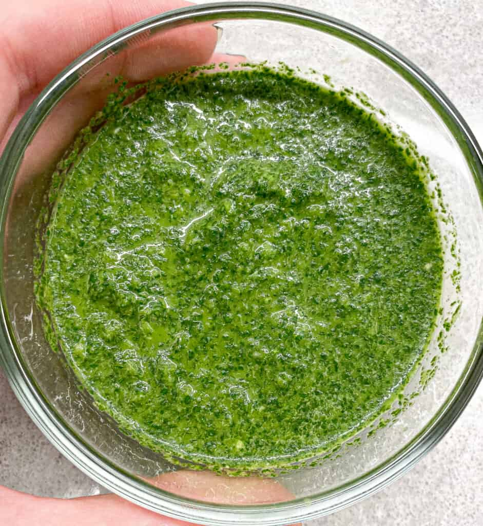 This is the cilantro lime pesto, we will fold into the rice.