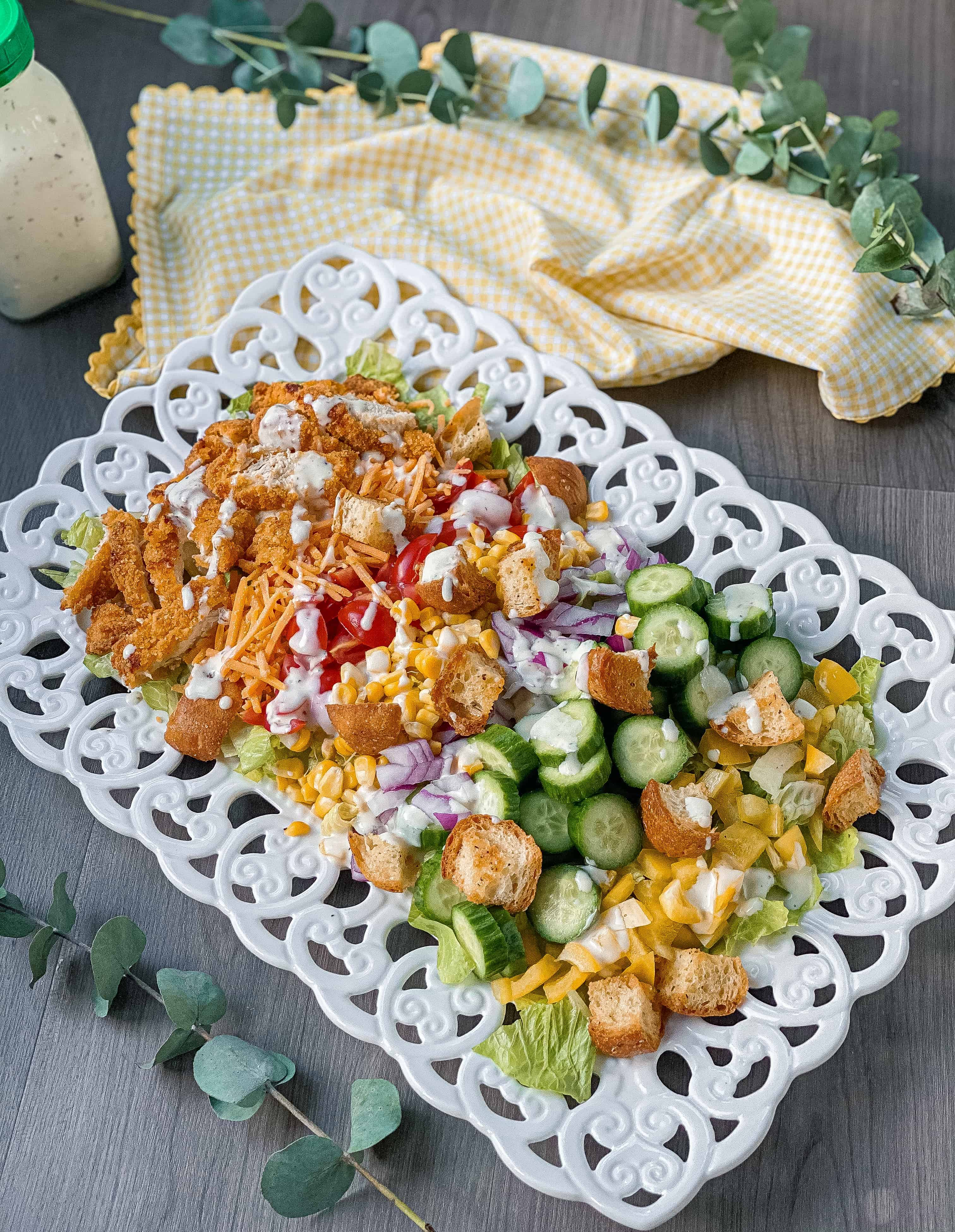 Easy Crispy Chicken Tender Dinner Salad