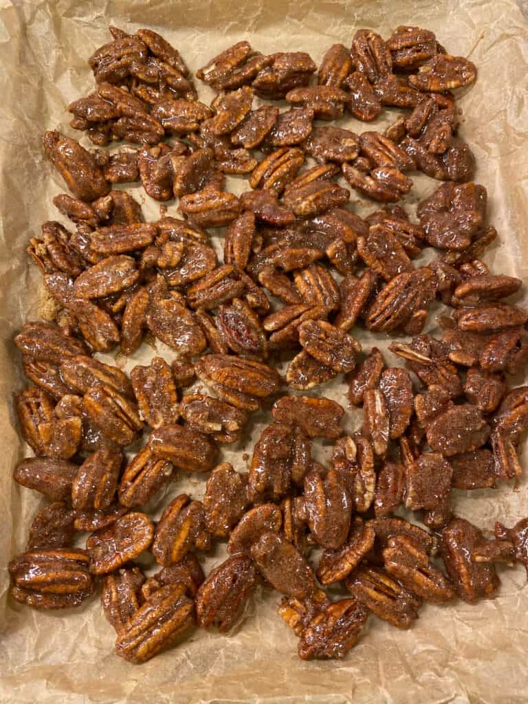 The pecans before they go into the oven.