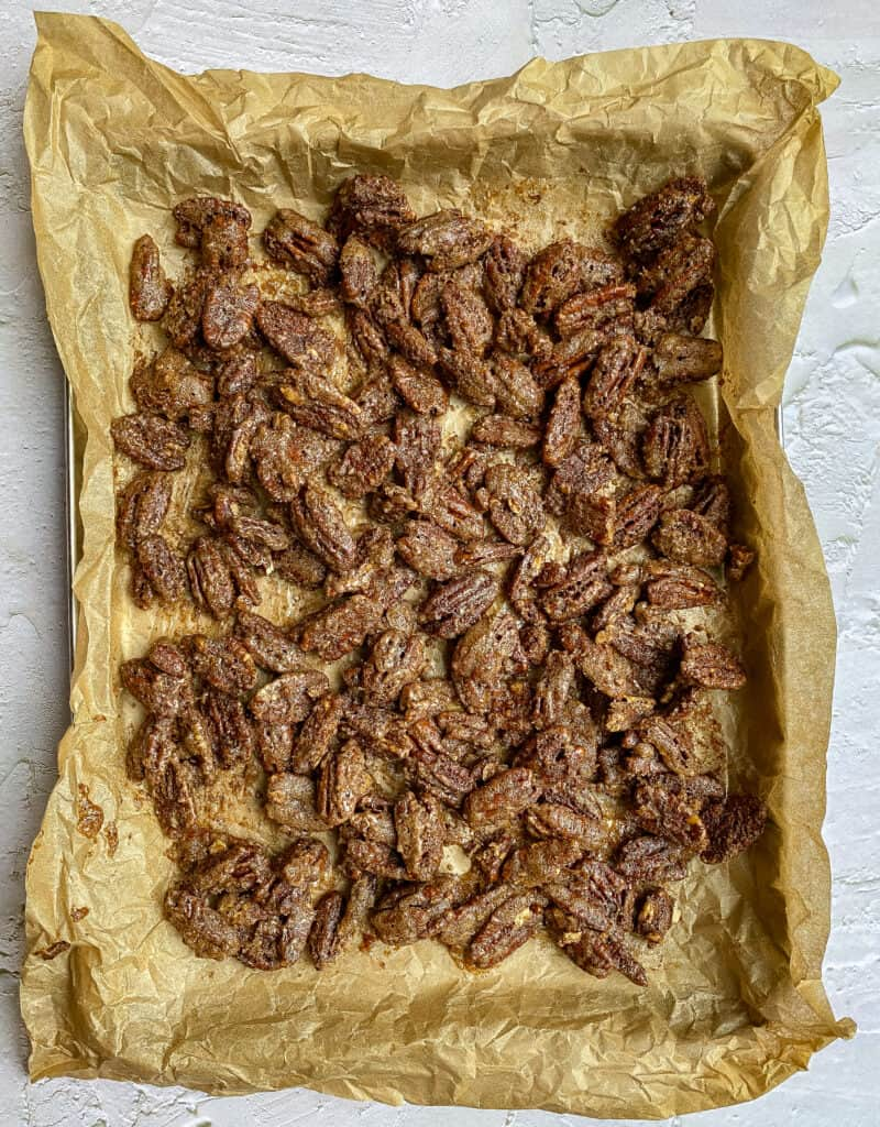 Pan of spiced candied pecans