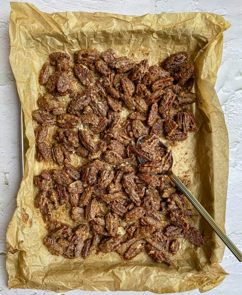 The finished spiced candied pecans.
