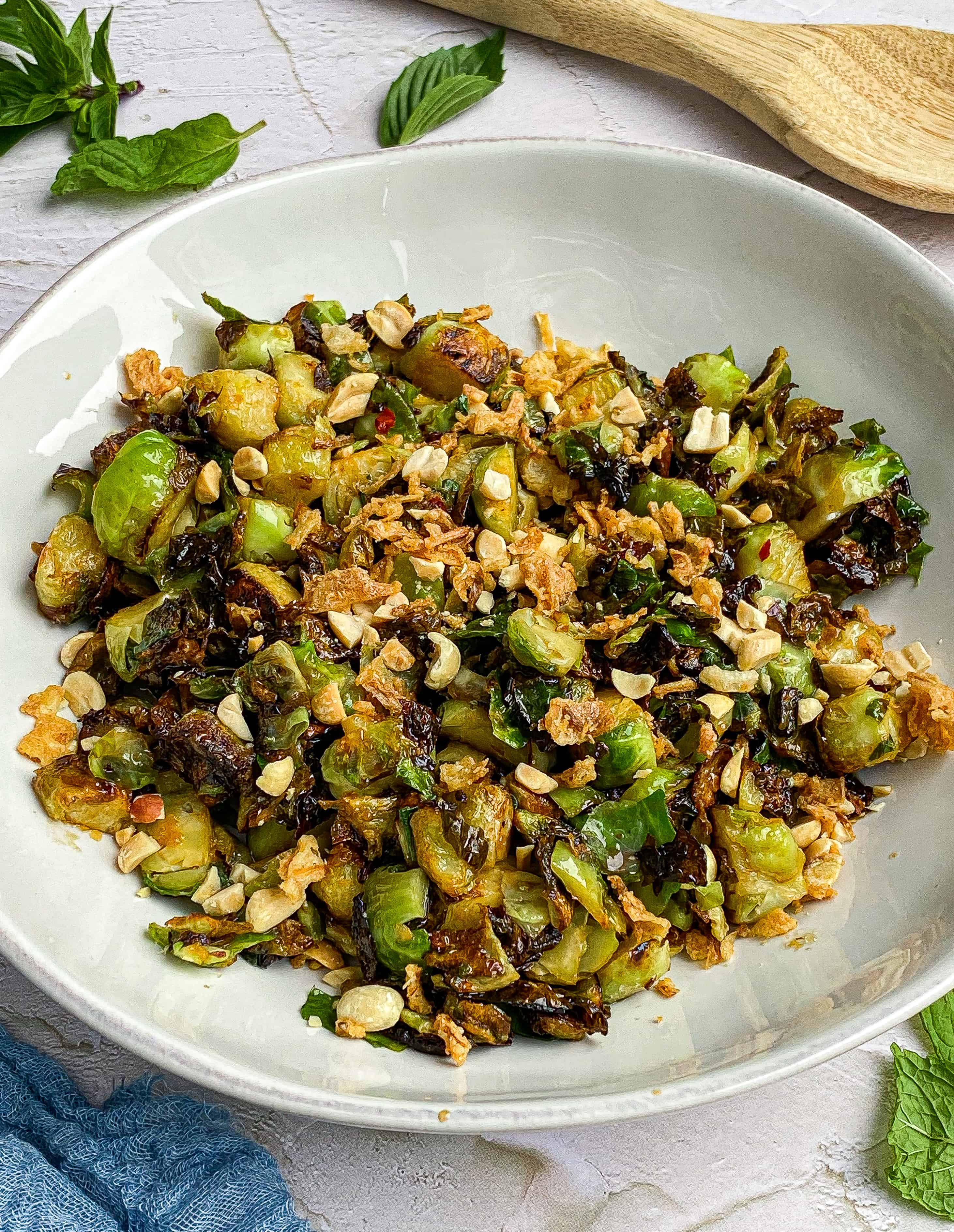 Crispy Brussel Sprouts With Soy-Ginger Vinaigrette