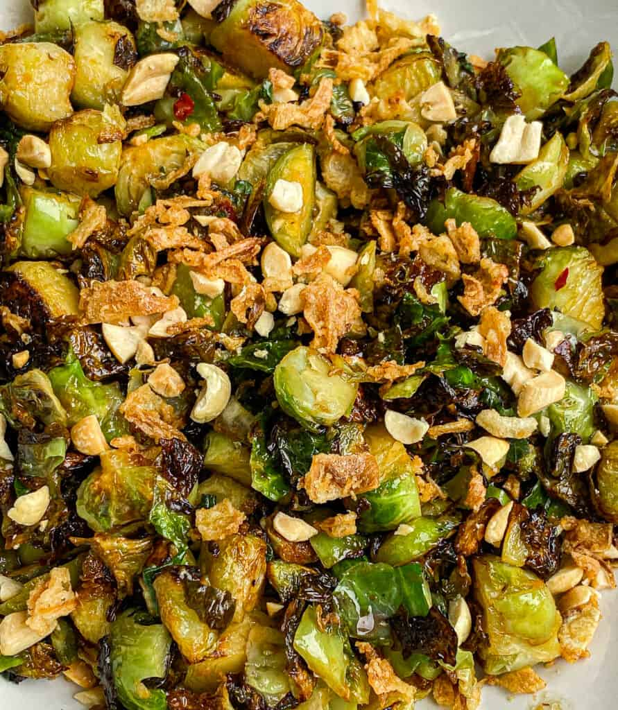 the finished crispy brussel sprouts