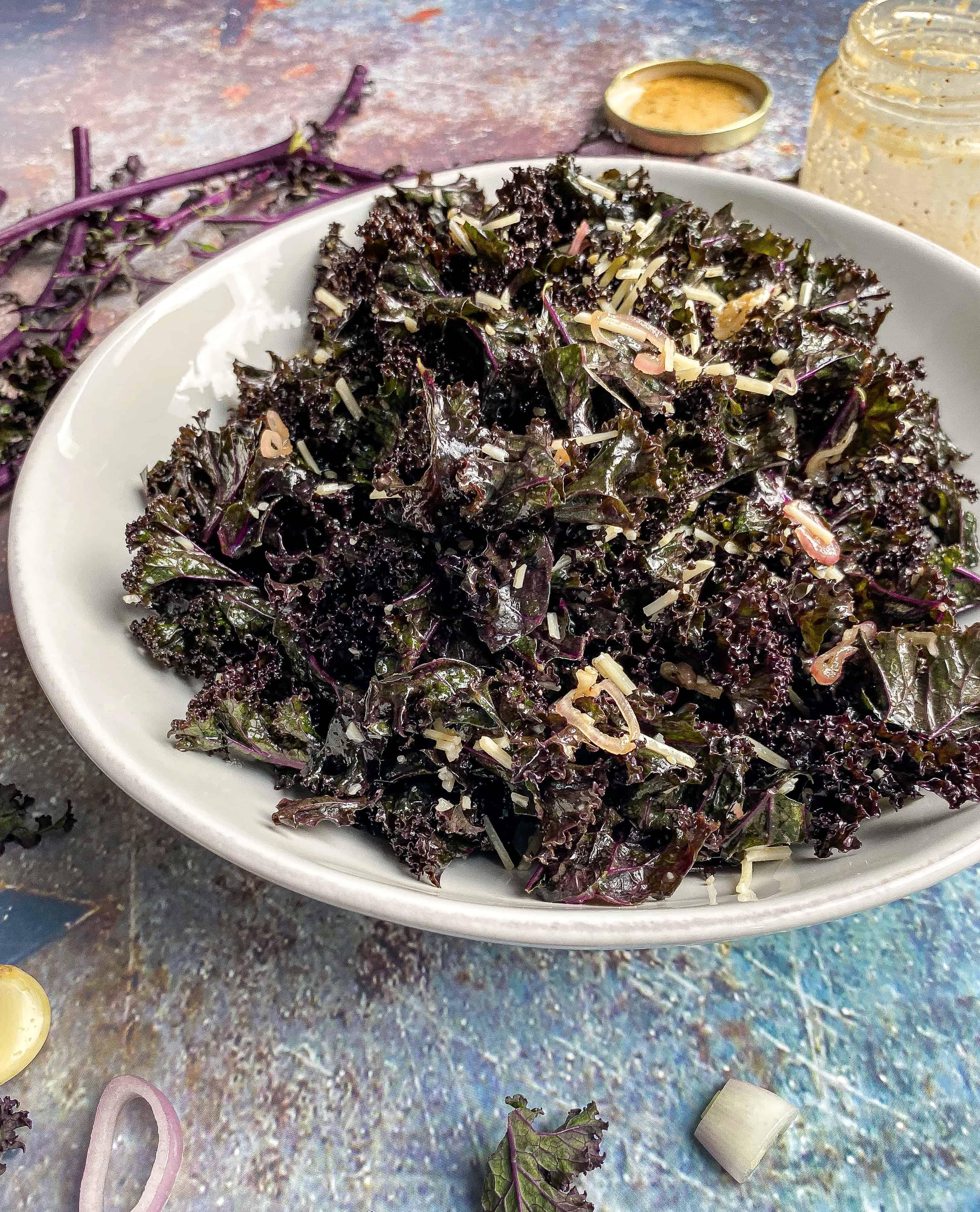 Kale Salad with Parmesan & Shallot Dijon Dressing