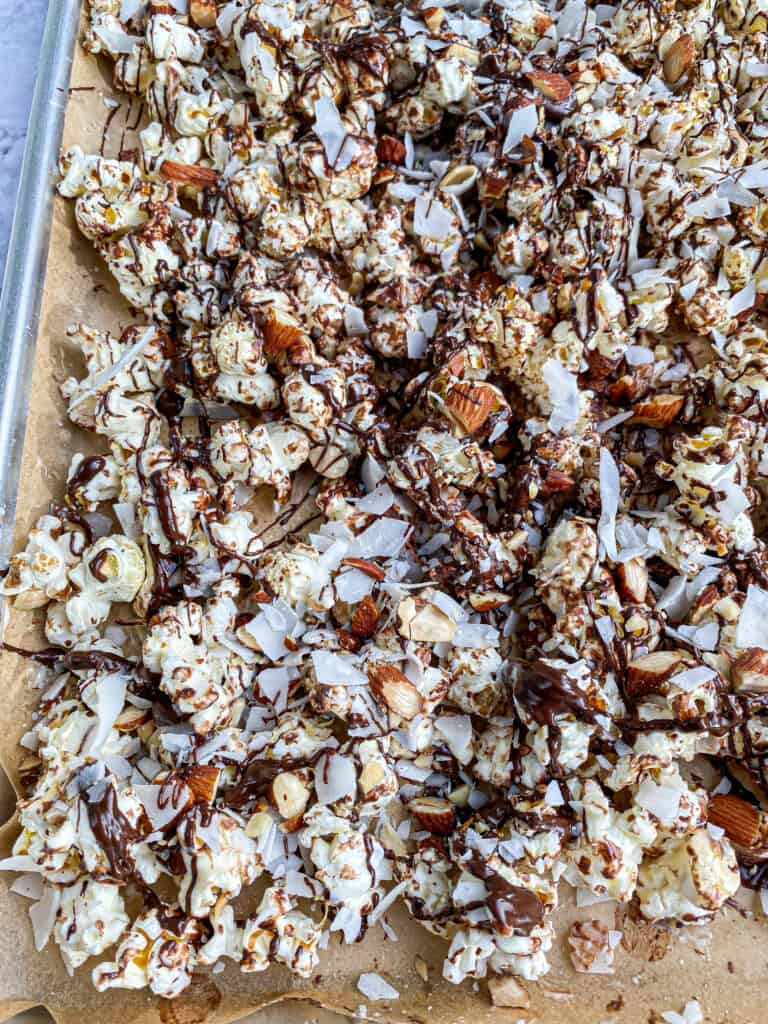 chocolate popcorn with almonds and coconut