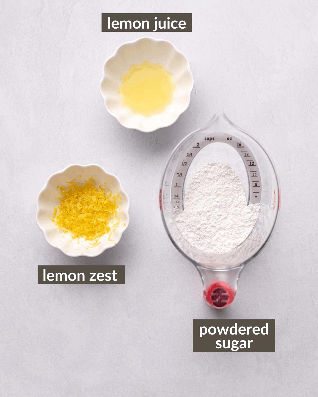 ingredients to make the lemon glaze
