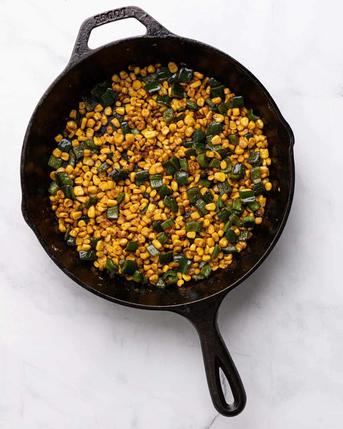 corn and poblano cooked