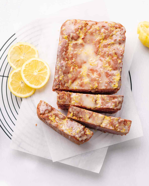 glazed and sliced loaf cake