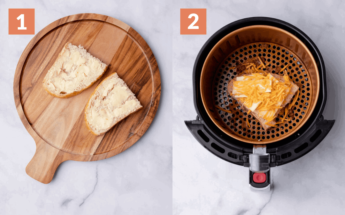 steps 1 & 2. bread with butter & Half of the sandwich in the air fryer