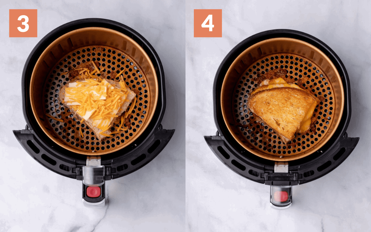 steps 3 & 4. sandwich cooking
