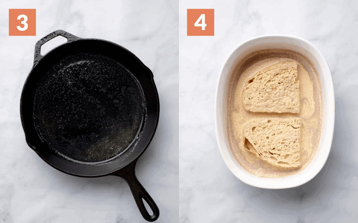 steps 3 & 4 melt butter soak bread