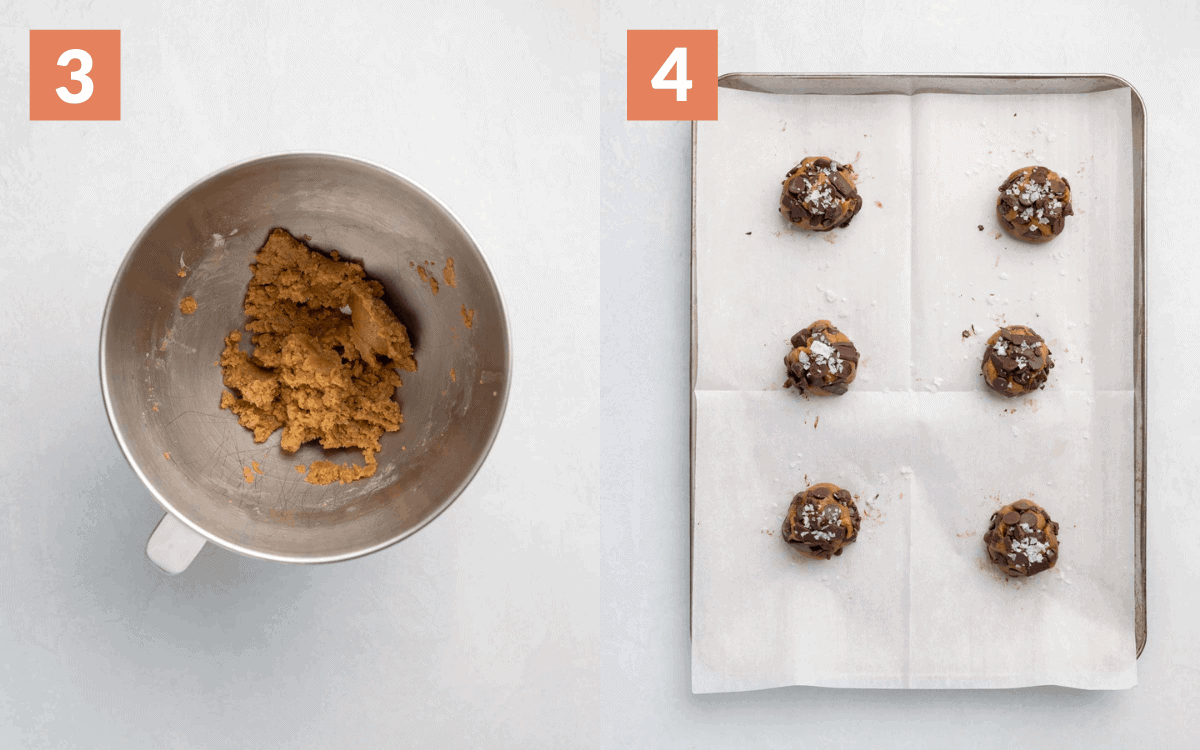 steps 3 & 4 add the dry ingredients form into 6 balls