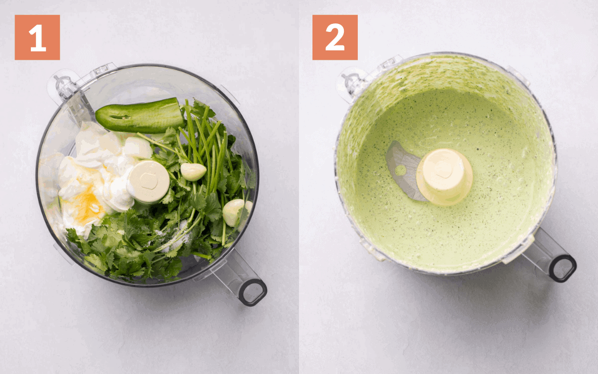 before and after of the ingredients in the food processor being blended