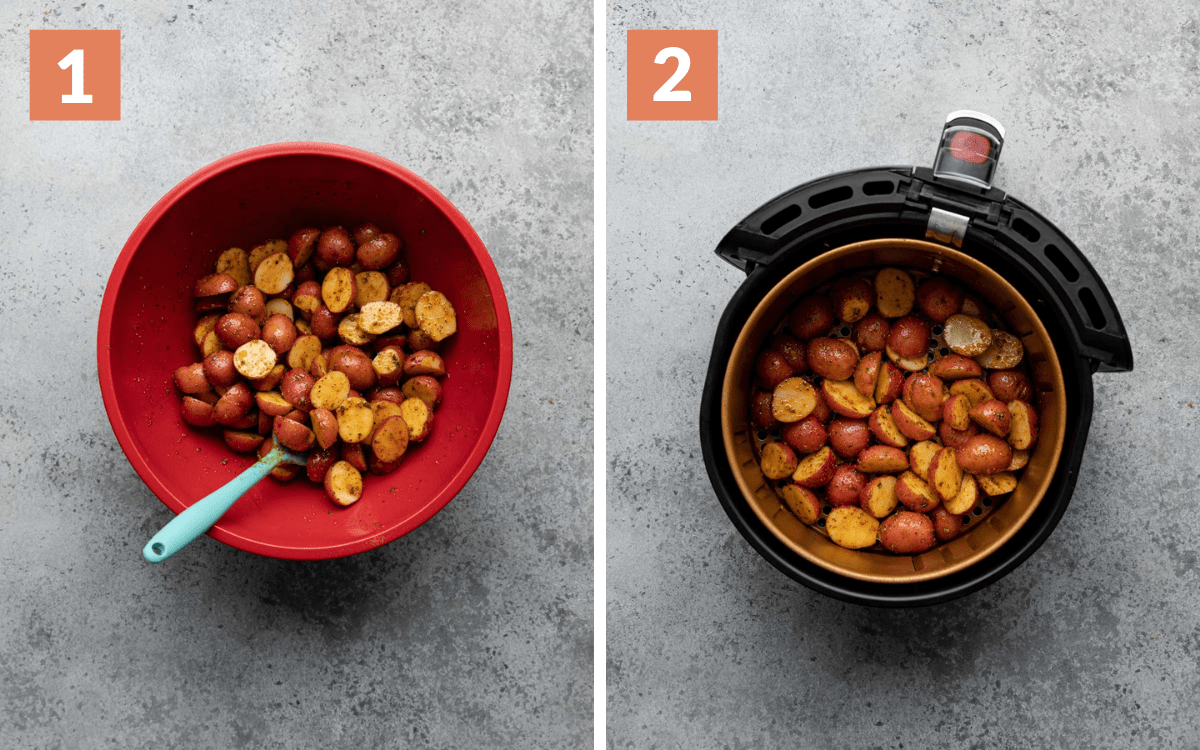 steps 1 & 2 potatoes tossed in spices and oil in large bowl potatoes in air fryer before cooking