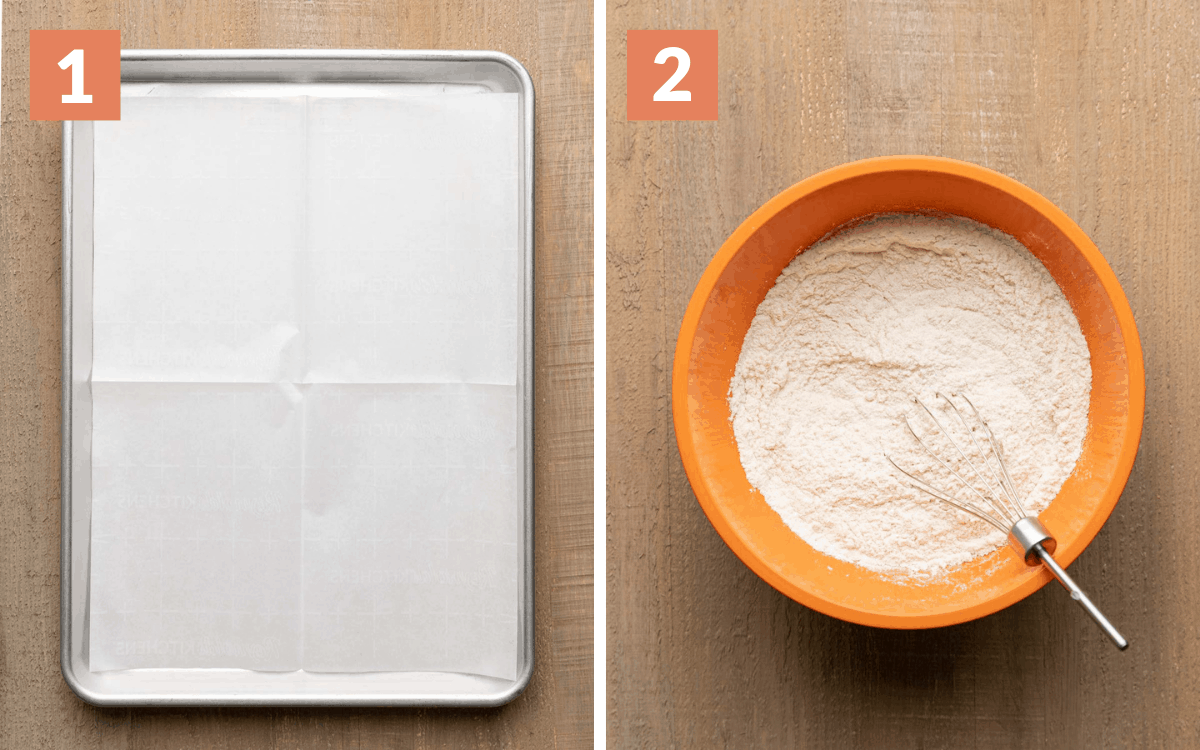 steps 1 & 2 pan with parchment paper dry ingredients whisked together in a bowl