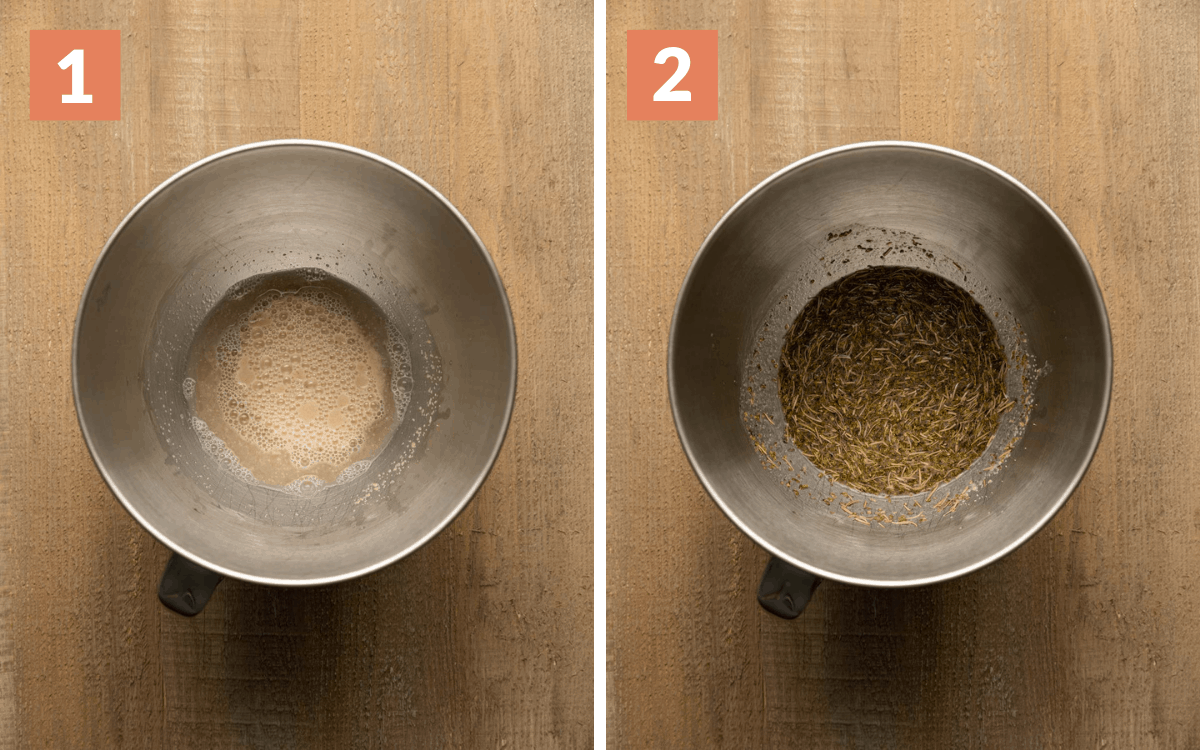 steps 1 & 2 water & yeast mixture foamy in bowl herbs & butter added to mixture