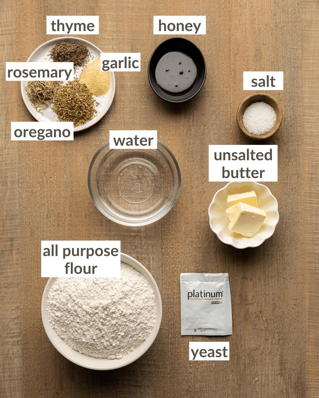 overhead of dough ingredients