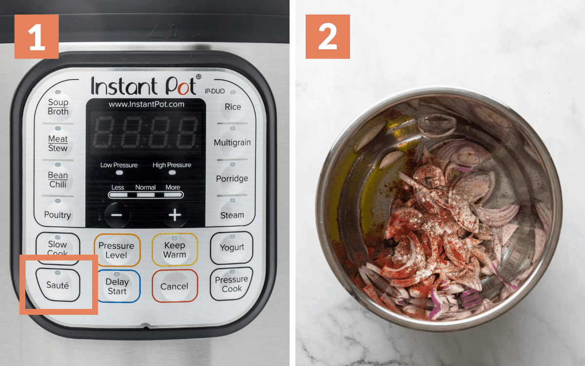 step 1 & 2 instant pot with sauté circled  overhead of onions and spices in pot