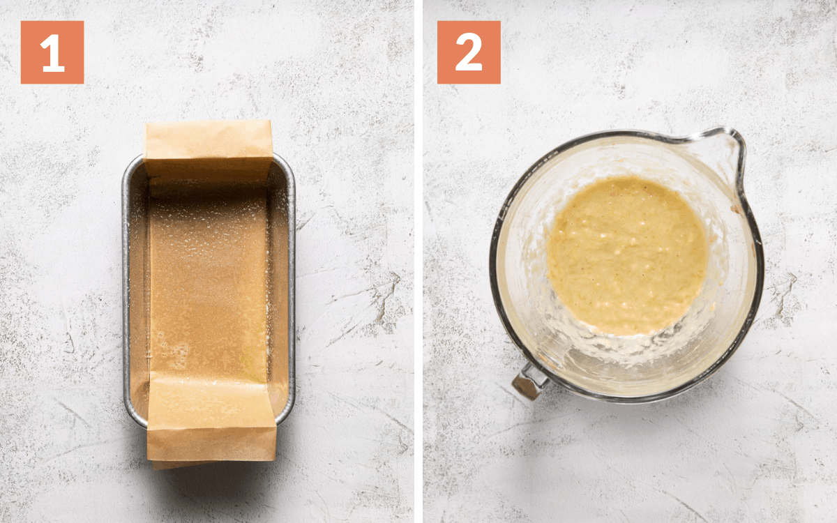 steps 1 & 2 pan lined with parchment paper banana and oil mixed in bowl