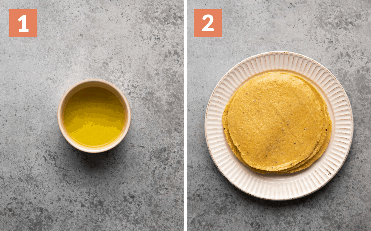 steps 1 & 2 lime oil mixture tortillas coated in lime oil