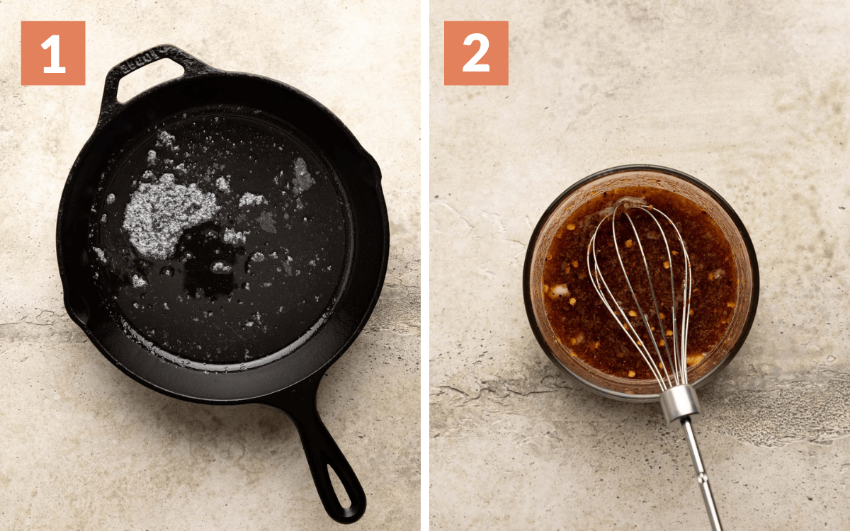 steps 1 & 2 melted butter in skillet sauce mixed in bowl