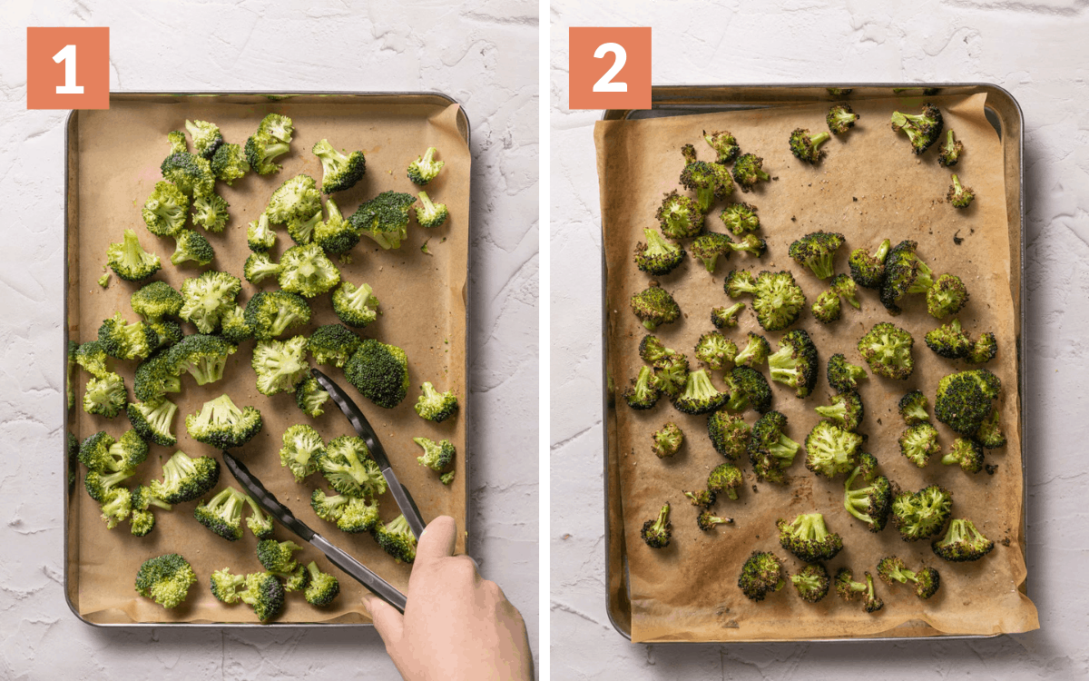steps 1 & 2 raw broccoli tossed on pan charred brocoli on pan