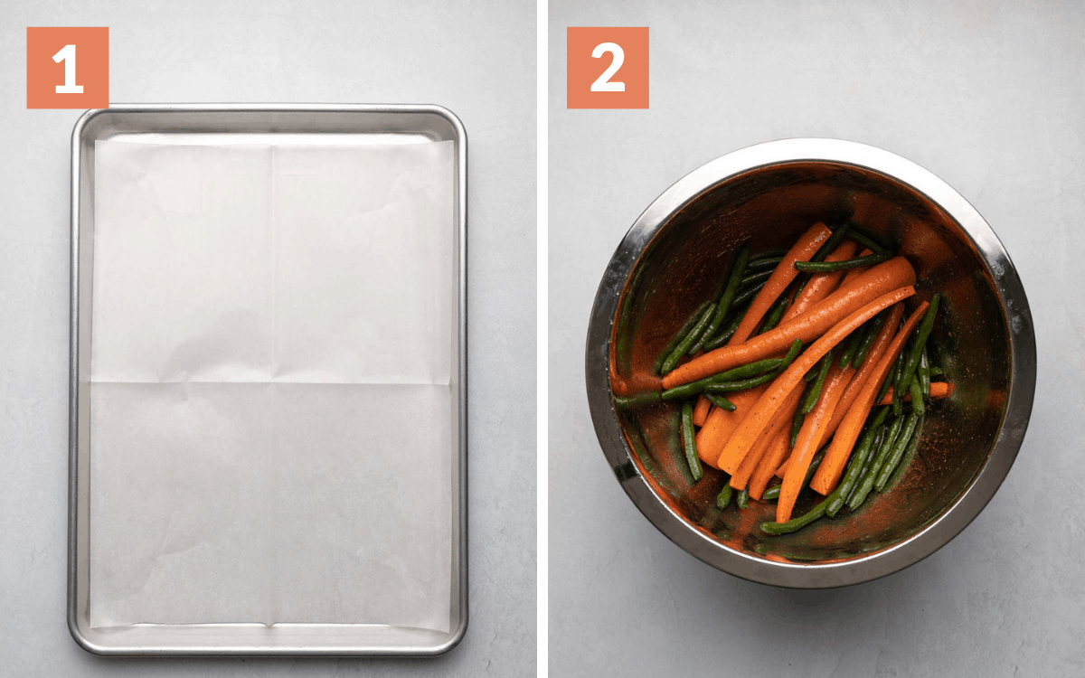 steps 1 & 2 overhead of prepared pan overhead of vegetables in mixing bowl coated in olive oil
