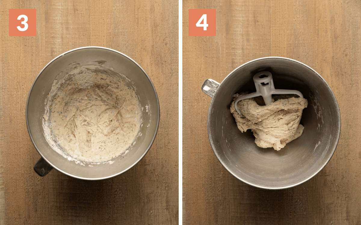 steps 3 & 4 dough with some flour mixed in finished dough wrapped around hook