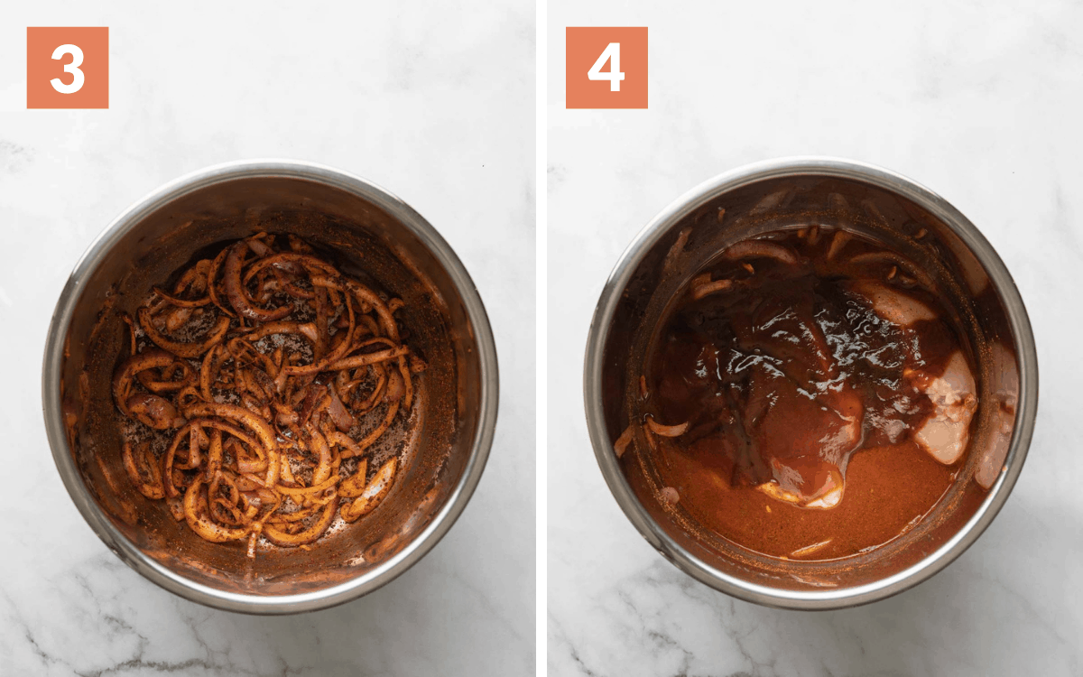 steps 3 & 4 overhead of cooked onions overhead of all of the ingredients in the instant pot