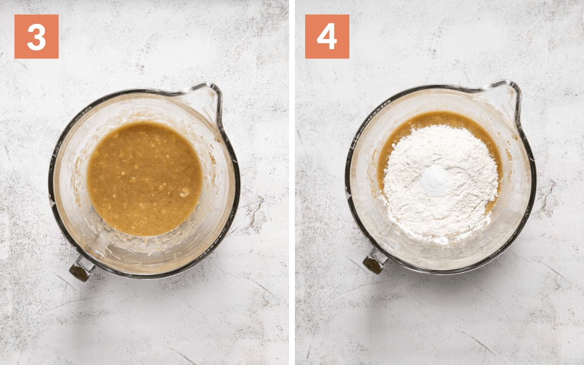 steps 3 & 4 oil, banana, sugar mixed in a bowl flour and baking soda on top of wet ingredients in a bowl