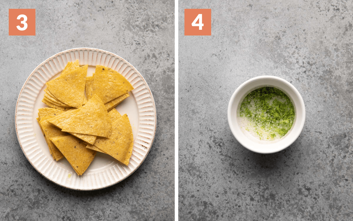 steps 3 & 4 tortillas cut into sixths lime salt in small bowl