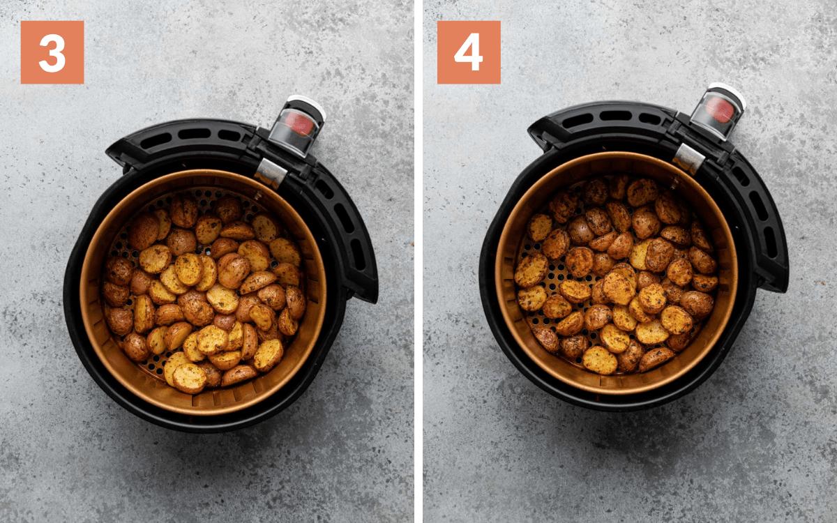 steps 3 & 4 potatoes in air fryer halfway through cooking potatoes in air fryer cooked all the way