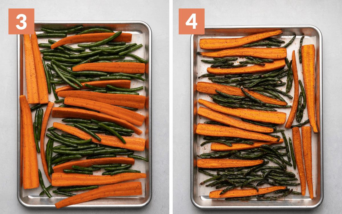 steps 3 & 4 overhead of vegetables on pan before oven overhead of vegetables on pan after oven