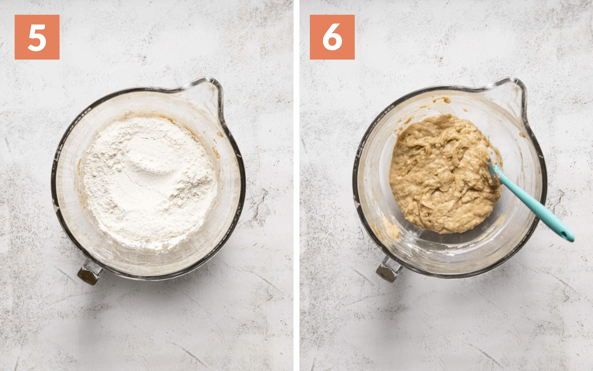 steps 5 & 6 dry ingredient mixed lightly on top of wet in a bowl dry ingredients folded into wet in a bowl