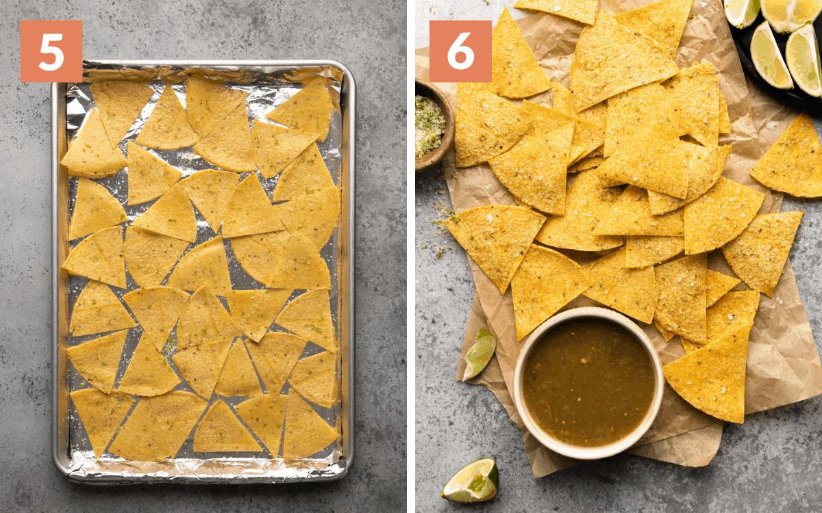 steps 5 & 6 cut chips on baking sheet finished chips