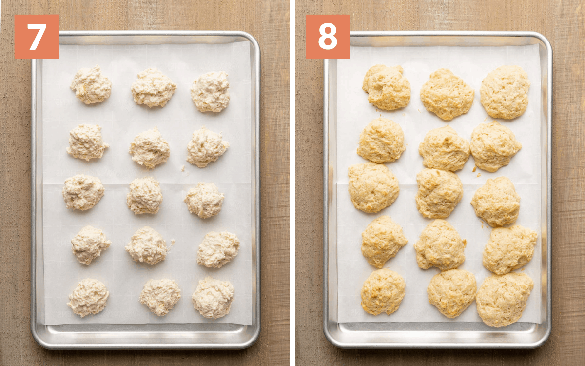steps 7 & 8 raw biscuits on sheet pan cooked biscuits on sheet pan