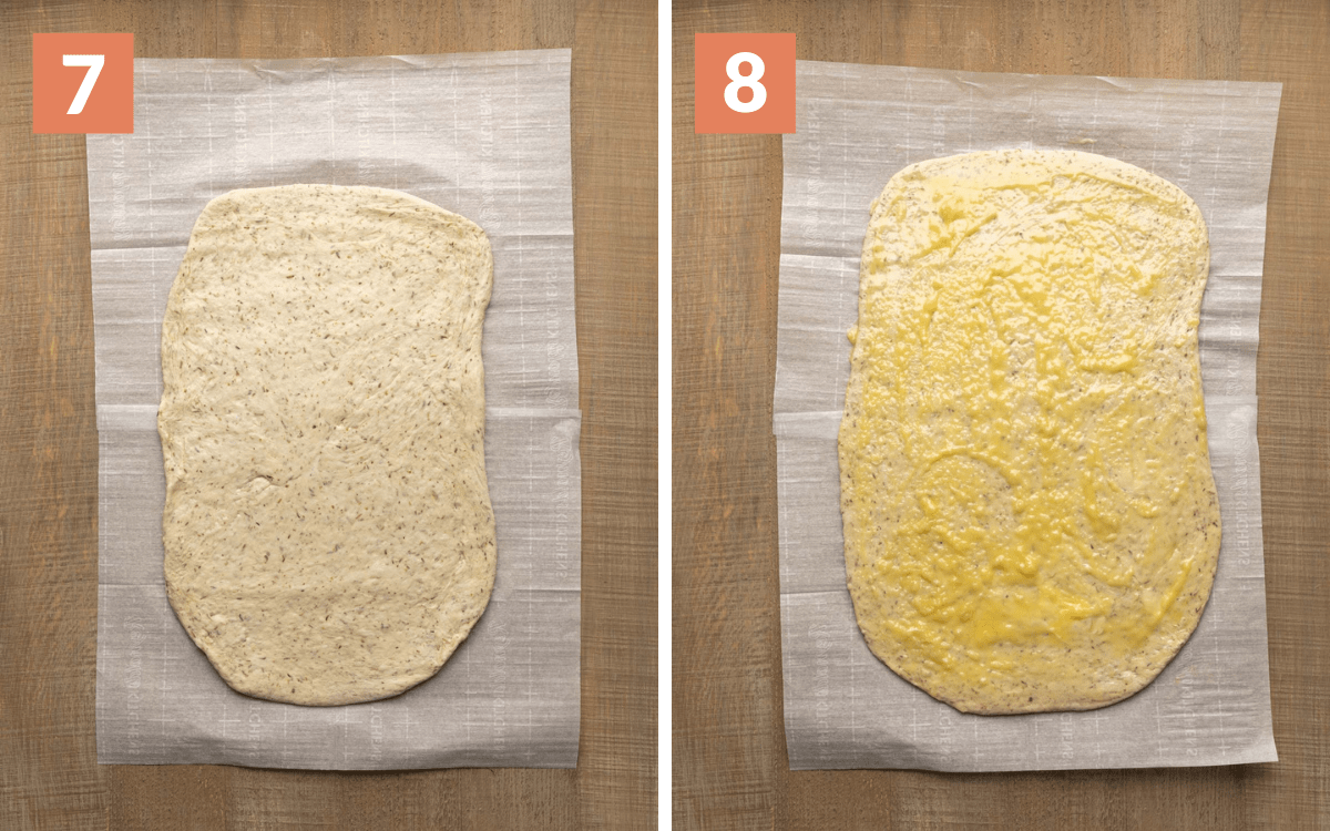 steps 7 & 8 dough rolled into rectangle rectangle brushed with butter