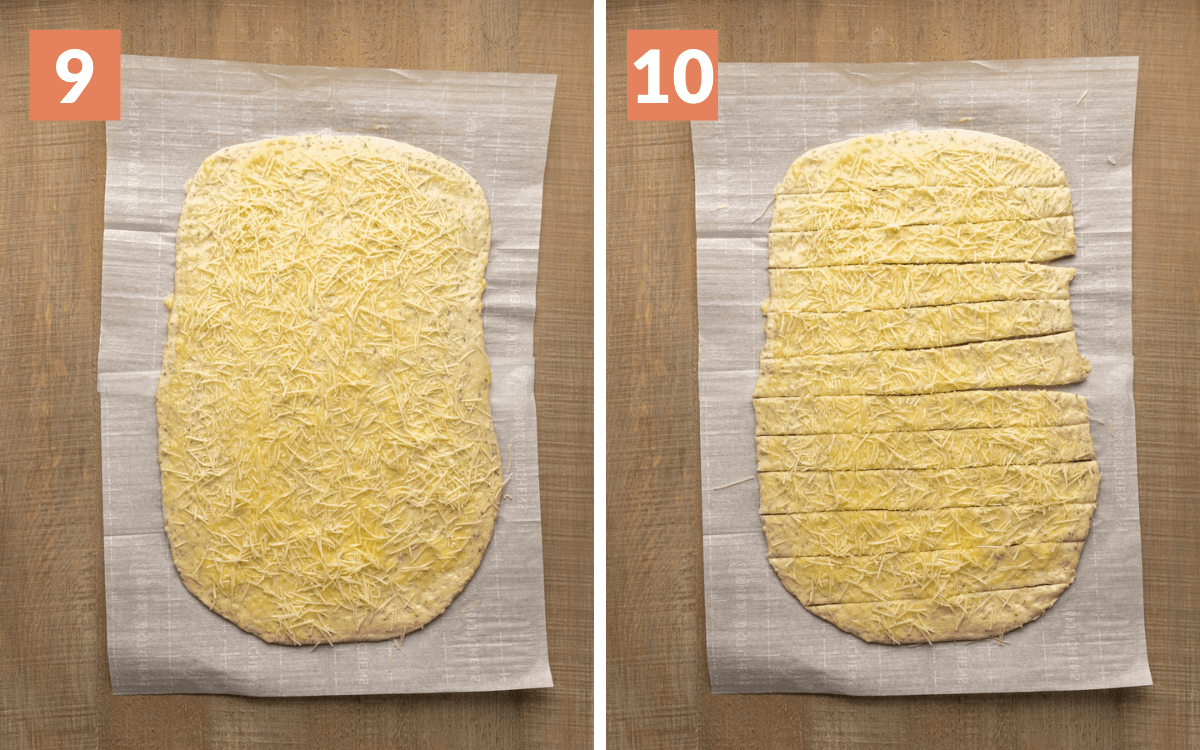 steps 9 & 10  dough with cheese sprinkled on it dough cut into 12 strips