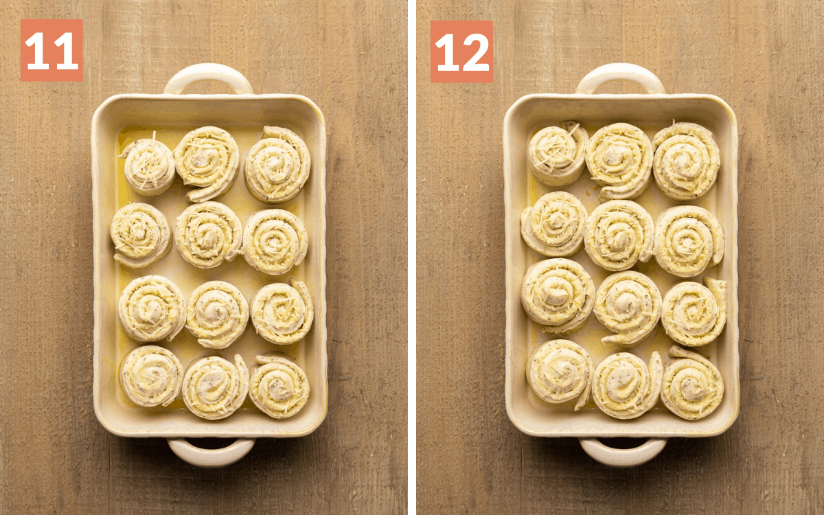 steps 11 & 12 rolls before 2nd rise rolls after second rise
