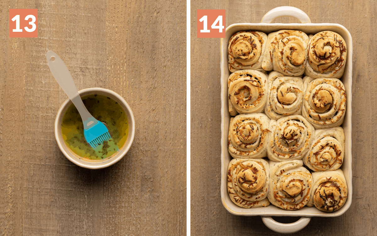 steps 13 & 14 garlic butter in bowl finished rolls in casserole dish