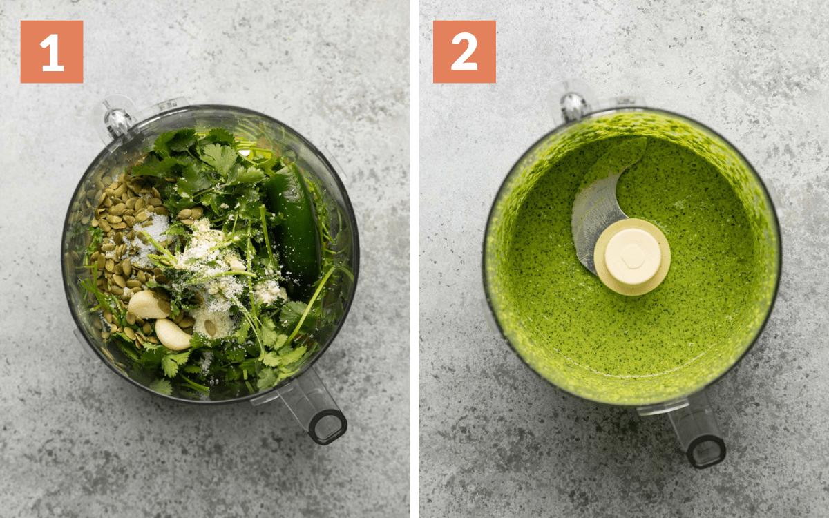steps 1 & 2  ingredients unblended in food processor ingredients blended in food processor