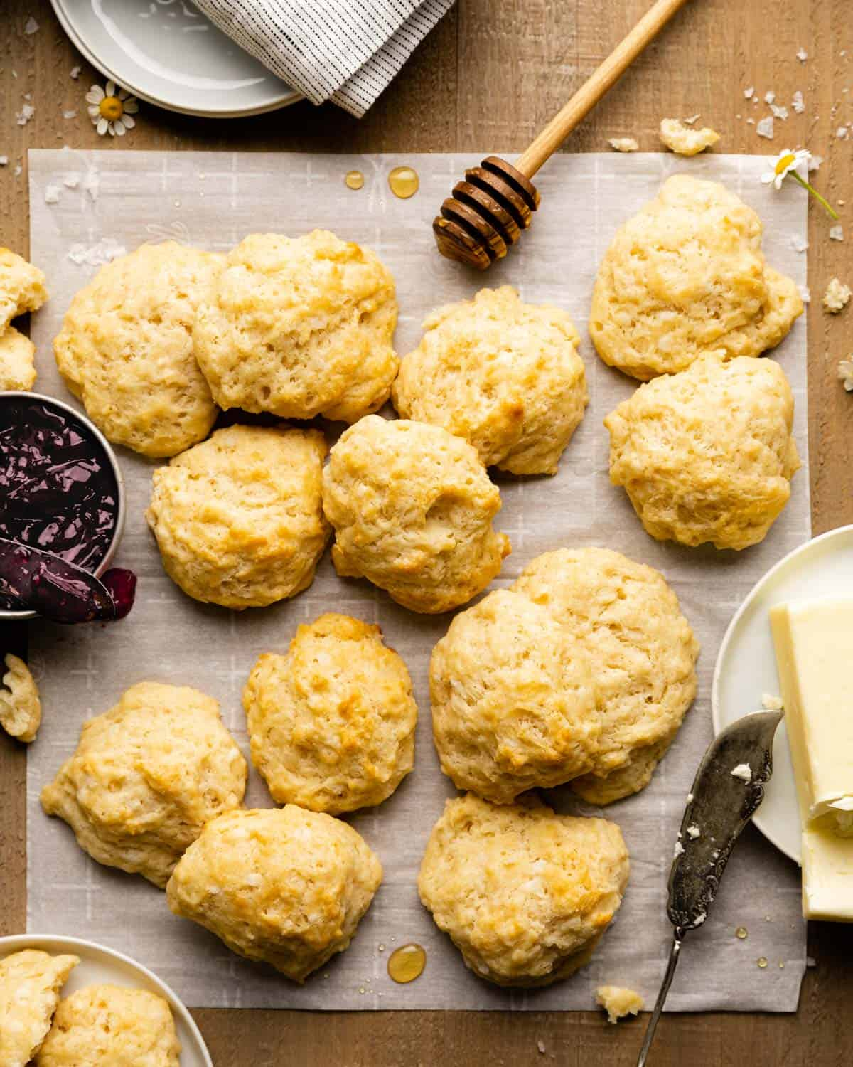 overhead of biscuits, butter, and jelly