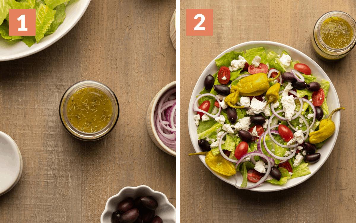steps 1 & 2 dressing in bowl salad in bowl assembled