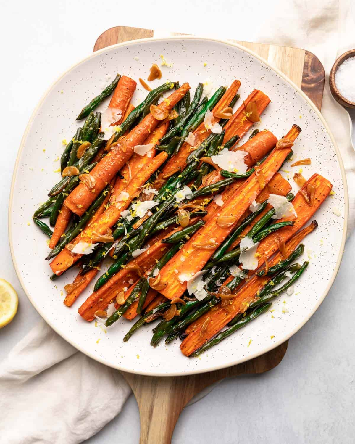 overhead shot of finished roasted carrots and green beans