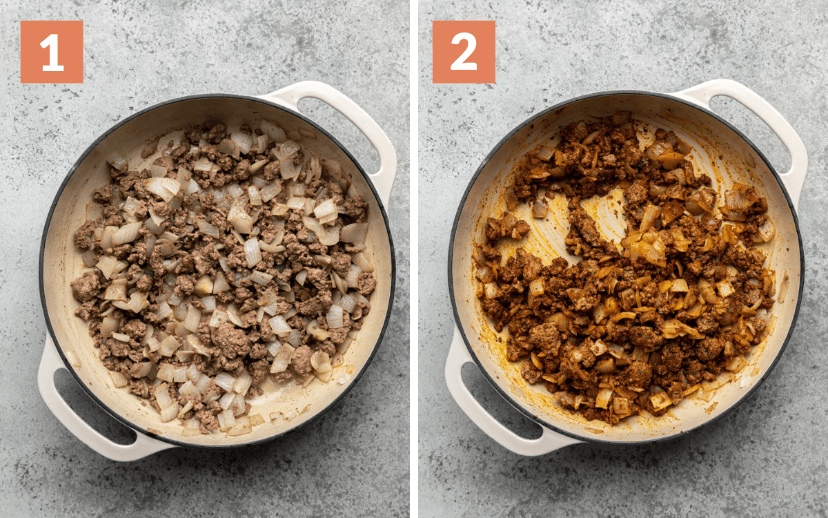 steps 1 & 2 ground beef and onions cooked ground beef with seasoning mixed in
