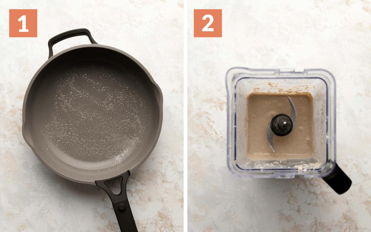 steps 1 & 2 greased skillet batter in blender