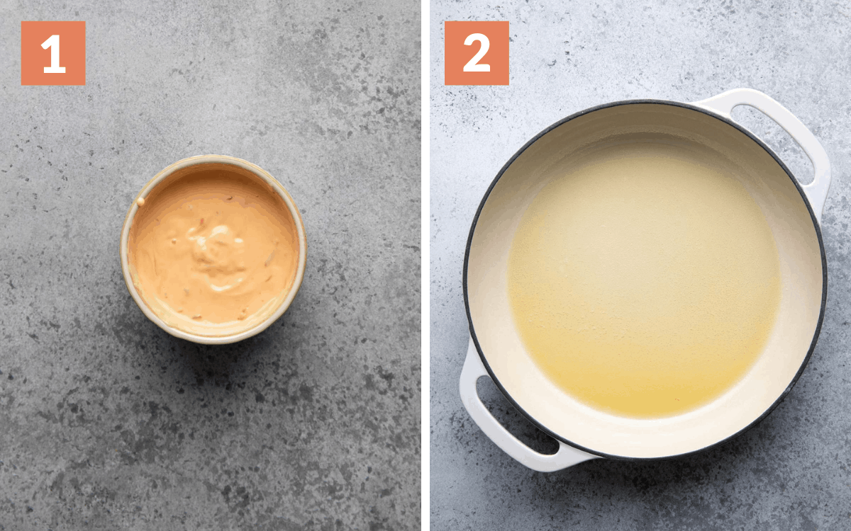 steps 1 & 2 aioli mixed in bowl oil heated in skillet