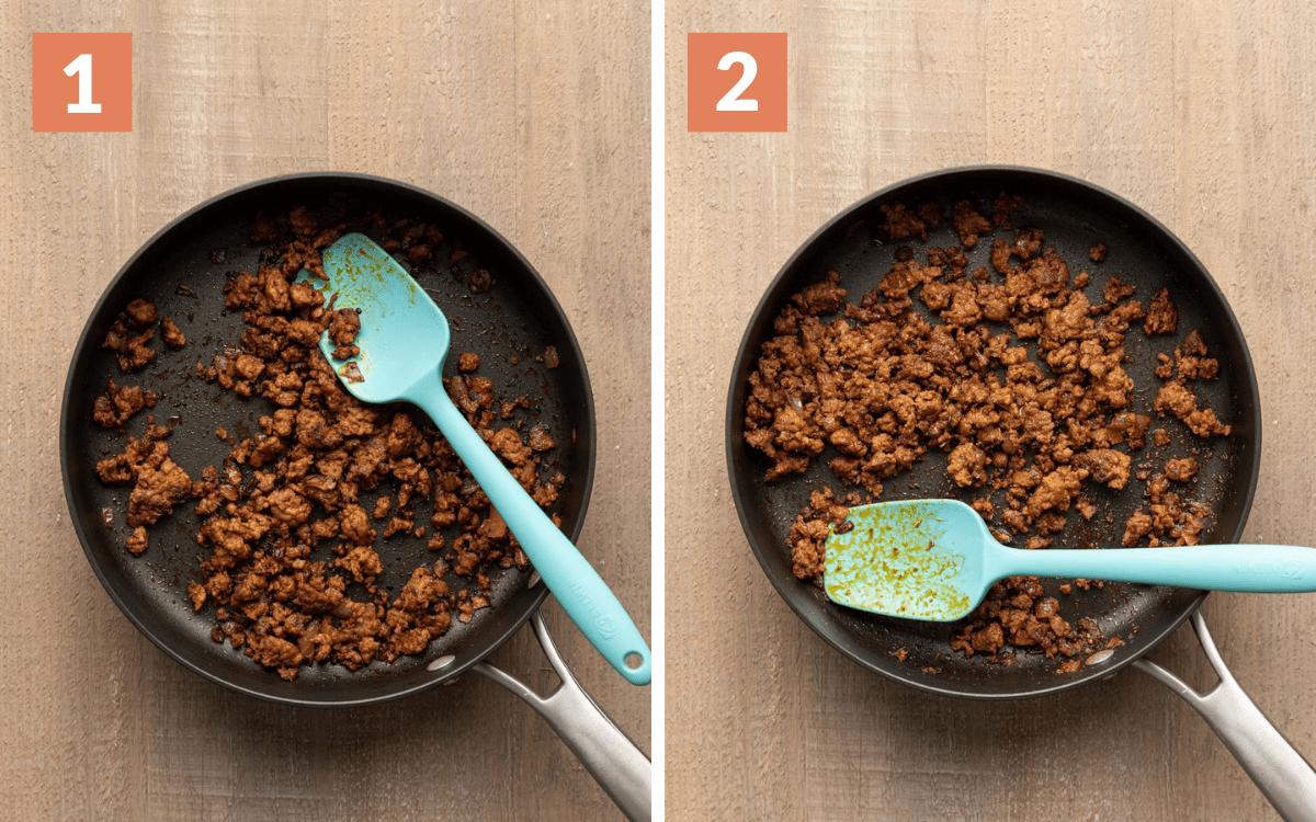 steps 1 & 2 chorizo cooked in pan chorizo and seasonings in pan