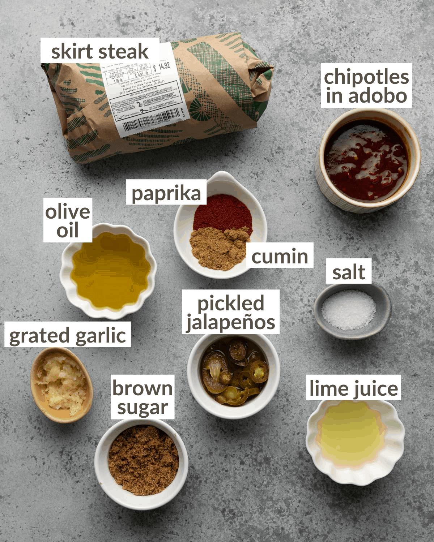 overhead of ingredients for carne asada